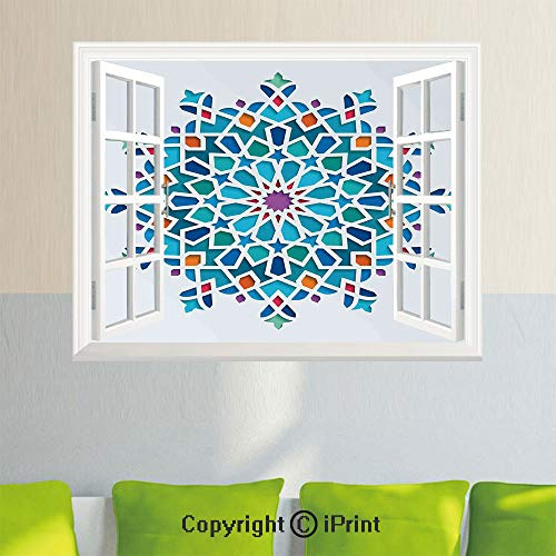Wall Decor Stickers,Illustration of Old Eastern Arabesque Ethnic Antique Oriental Damask Round Motif Decorative,35.4X 23.6inch,Creative Window View Home DecorMulticolor ()