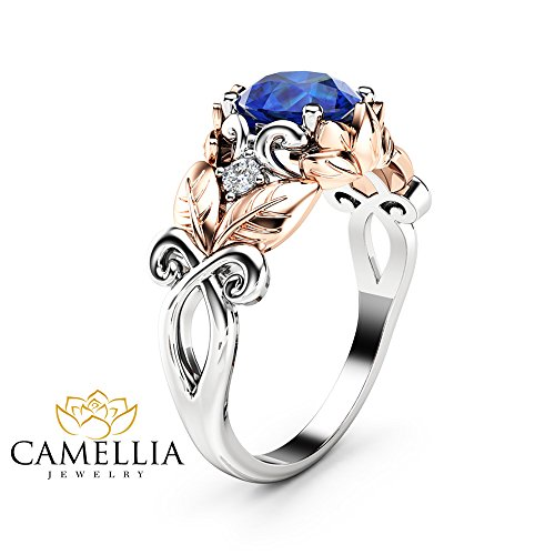 Sapphire Gold Two Tone 14k (Natural Blue Sapphire Engagement Ring 14K Two Tone Gold Leaf Ring Gemstone Ring)