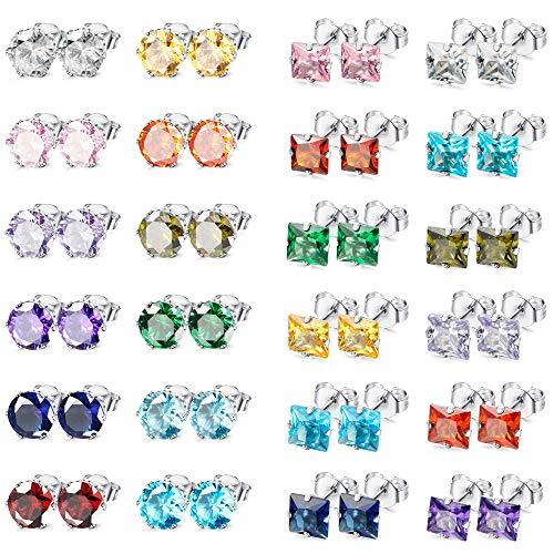 (LOYALLOOK 12-24 Pairs Stainless Steel Square CZ Ear Piercing Birthstone Stud Earrings for Teens Girls 3MM)