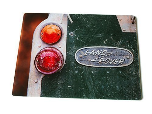 """""""Old Land Rover"""" glass kitchen worktop surface protector. Iconic photographic image by Charles Sainsbury-Plaice. Christmas and birthday gift ideas men and women who like land rovers"""