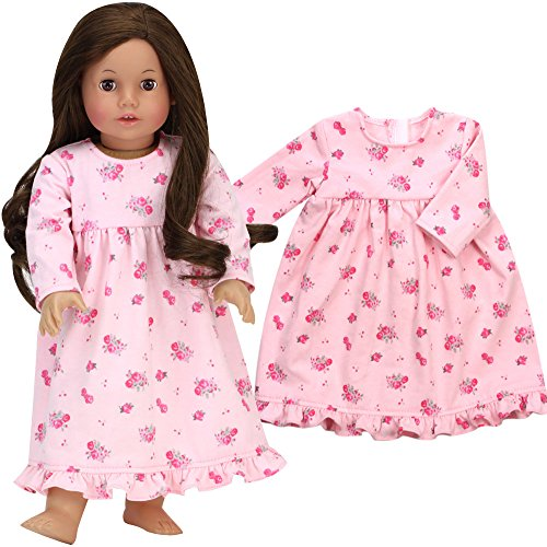 Sophia's 18 Inch Doll Nightgown fits American Girl Dolls | Pink Floral Print Nightgown