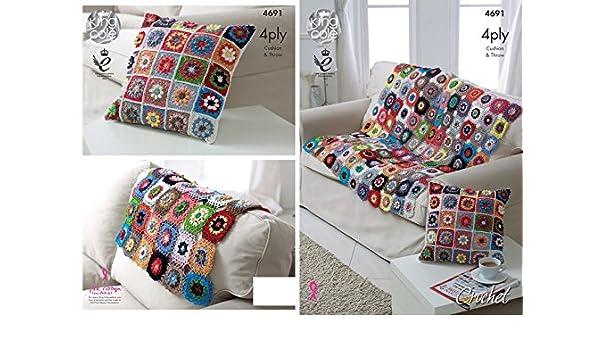 King Cole 4691 Crochet patrón flores celosía manta y cojín ...