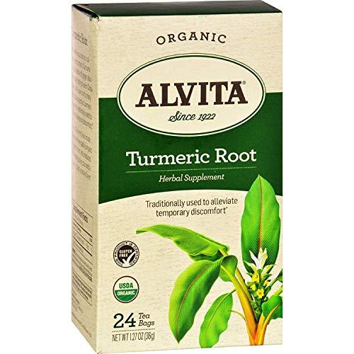 Alvita Teas Organic Herbal Tumeric Tea - Gluten Free - 24 Bags (Pack of 2)