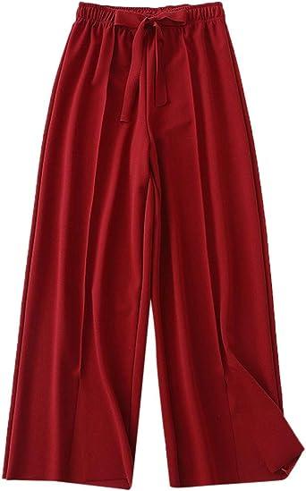 Luckycat Pantalones Anchos Para Mujer Otono Invierno 2019 Moda Casual Pantalones Marlene De Vestir Cintura Alta Fiesta Palazzo Pantalon Acampanados Baggy Con Cinturon Senora Pantalones De Algodon Amazon Es Relojes