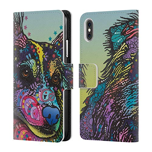 (Official Dean Russo Libby Dogs 4 Leather Book Wallet Case Cover for iPhone X/iPhone Xs)