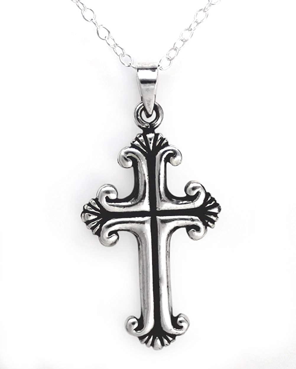 Sterling Silver Decorated Cross Necklace