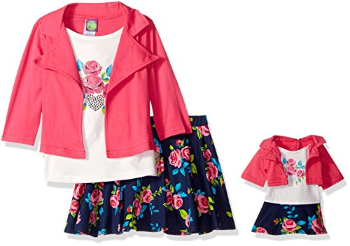 Dollie & Me Big Girls' Mock Jacket Floral Skirt Set, Pink/Navy, 8 (Me Doll)