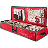 """ZOBER PE underbed Gift wrap Organizer, Interior Pockets, fits 18-24 Standers Rolls, Underbed Storage, Wrapping Paper Storage Box and Holiday Accessories, 40"""" Long - Tear Proof Fabric"""