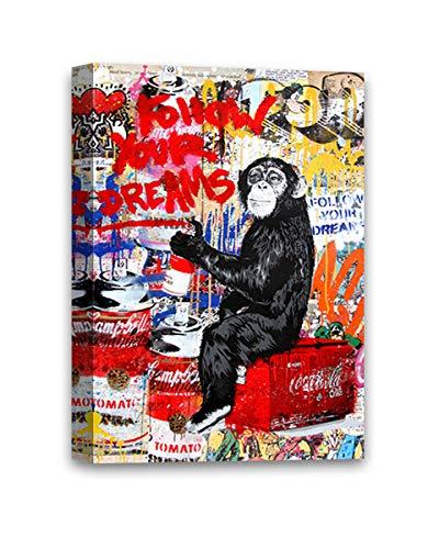 Mr Brainwash Follow Your Dreams Funny Monkey Illustration Graffiti by Mr Brainwash Framed Canvas Prints MBW Canvas Art French Street Art 8