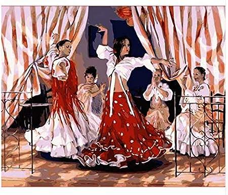 Compañía Española de Danza Diamante Punto de cruz Artesanía Artesanía y costura Pintura por número Kit de punto único Decoración del hogar Lienzo Diamante redondo 30X40 CM: Amazon.es: Hogar