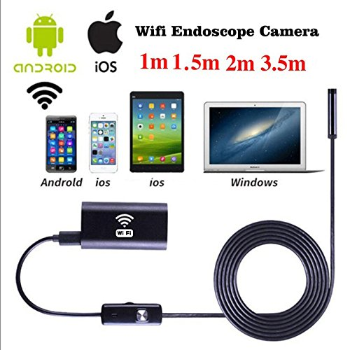 Hanbaili USB Endoscopio, 2m 8mm Wireless WIFI Endoscopio Impermeabile HD 1.0MP Camera per iPhone iOS Android Giantree