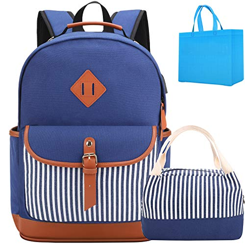 Meisohua School Backpack with Lunch Bag, Bookbags Set for Teen Girls high School College Backpack with USB Charging Port Laptop Backpack Fits 15.6 inch Laptop(Blue Set)