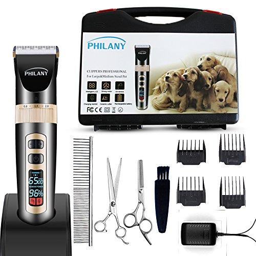 Hair Clipper Cutter - PHILANY Professional Dog Cat Clipper,Electric Pet Hair Fur Remover Cutter Shaver Grooming Clipper Haircut for Pet