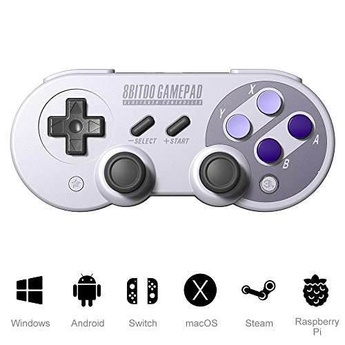 ElementDigital 8Bitdo SF30 Pro/SN30 Pro Bluetooth Gamepad Wireless Controller with Rumble Vibration USB Cable for macOS, Nintendo Switch, PC, Android, Raspberry Pi Gamers (Purple) (Pro Pad Game)