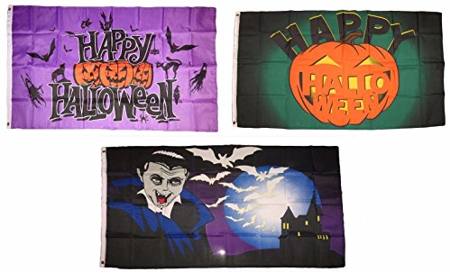 ALBATROS 3 ft x 5 ft Happy Halloween 3 Pack Flag Set #118 Combo Banner Grommets for Home and Parades, Official Party, All Weather Indoors Outdoors ()