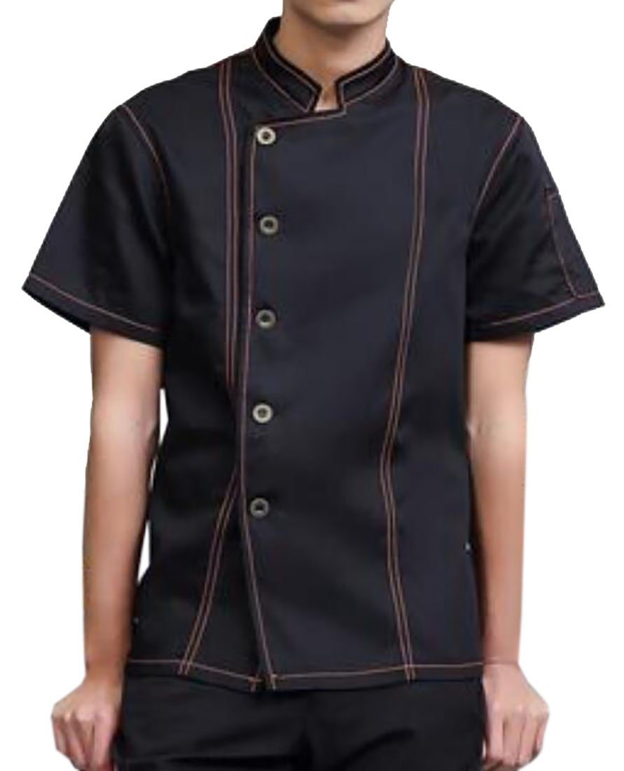 Nanquan-men clothes NQ Men's Short Sleeve Unisex Chef Coat Jacket Underarm Mesh Denim Shirt Black US L