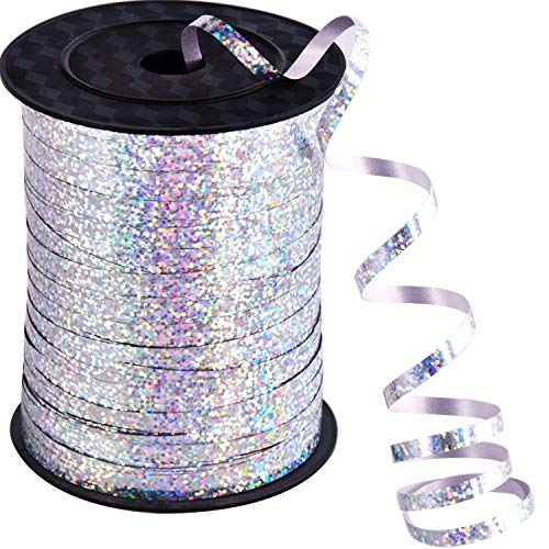 500 Yards Silver Curling Balloon Ribbon,3/16-Inch Balloon String Gift Wrapping Ribbon Perfect for Birthday Weddings Party Decorations