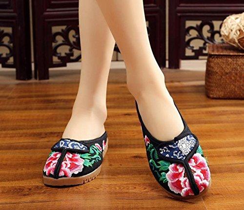 ZLL Gestickte Schuhe, Sehnensohle, ethnischer Stil, weiblicher Flip Flop, Mode, bequem, Sandalen , grey , 41