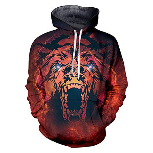 Men Big Size Hoodie Sweatshirt Pullover Hooded Red Tiger Animal 3D Printed Hoodies Clothes Streetwear Red Tiger Animal M