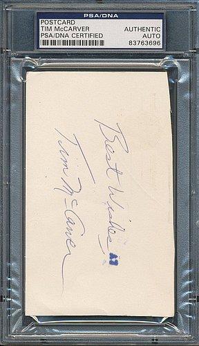 Tim McCarver Autographed Postcard - PSA/DNA Certified