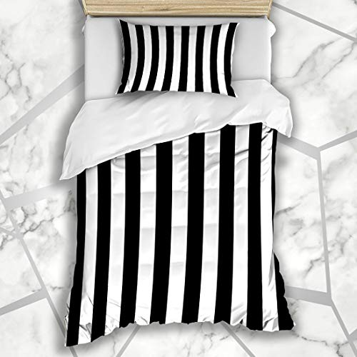 Awning Stripe Bedding - Ahawoso Duvet Cover Sets Twin 68X86 Black Awning Stripe Abstract White Minimal Pattern Pinstripe Bengal Design Parallel Microfiber Bedding with 1 Pillow Shams