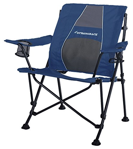 STRONGBACK Guru Folding Camp Chair with Lumbar Support, Navy & Grey