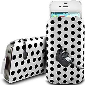 Direct-2-Your-Door - Nokia Asha 202 PU protector polca cordón de cuero antideslizante lengüeta de diseño en caso de la bolsa con cierre rápido y la red de CE Cargador - Blanco