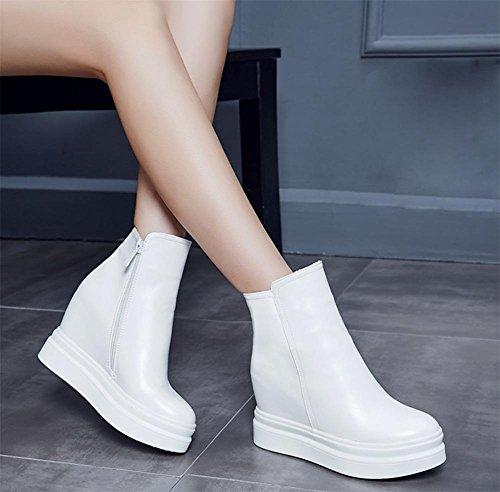 Scarpe aumento delle Ms delle Autunno sportive all'interno pesante cerniera stivali white con ascensore piatti scarpe scarpe fondo dal casual donne 5r4Upxn5F
