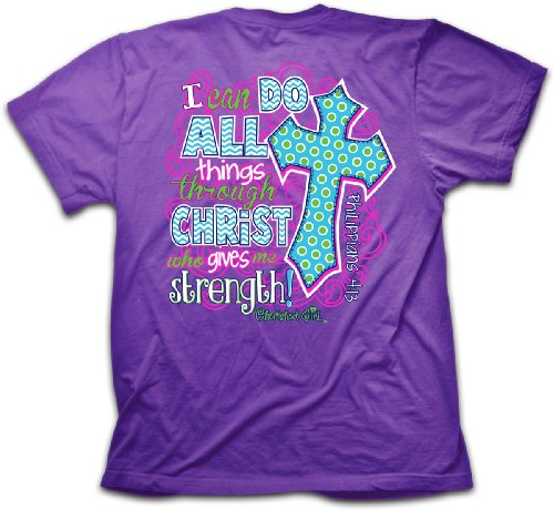 I Can Do All Things T-Shirt,Purple,Large