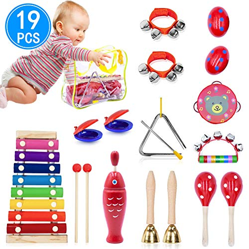 Halloween Musical Instruments (Toddler Musical Instruments, 11 Types Wooden Percussion Instruments Xylophone Tambourine Castanets Sleigh Bell for Kids Preschool Education, Early Learning Musical Toys with Storage)