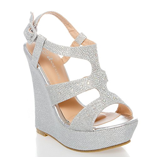 V-Luxury Womens 40-KENDRA1 Open Toe High Heel Wedge Platform Sandal Shoes, Silver, 8 B (M) US