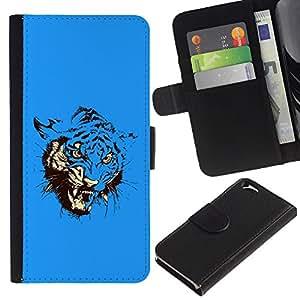 KLONGSHOP // Tirón de la caja Cartera de cuero con ranuras para tarjetas - Azul feroz ataque del tigre - Apple Iphone 6 //
