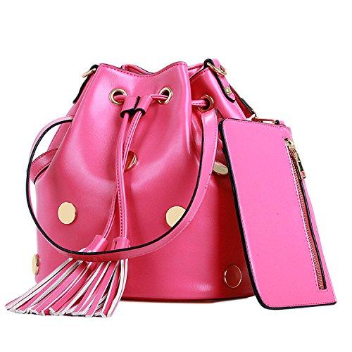 Janeyer Women's Bucket Handbag Tassel Design Leather Shoulder Bag Cross Body (Pink Leather Holdall)