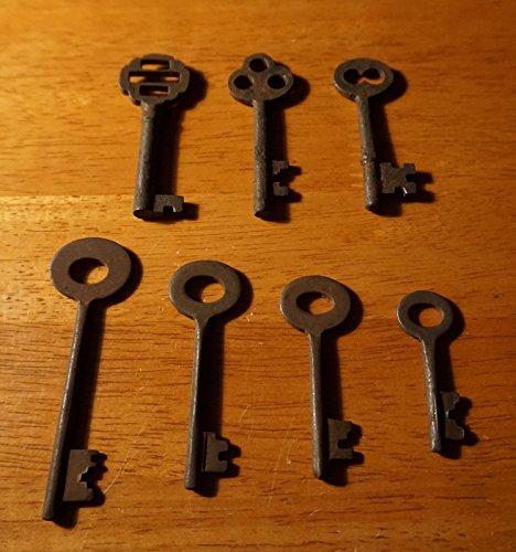 Set Of 7 Rustic Cast Iron 19Th Century Style Cabinet Skeleton Keys Rusted Finish