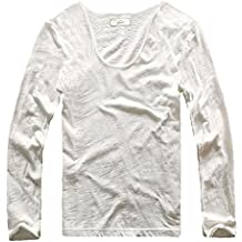 Zecmos Men V Neck Slim Fit 100 Cotton T-Shirt Basic T Shirts Casual