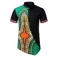 GLVSZ Mens African Dashiki Print Summer Short Sleeve Slim Fit Dress Shirt Top(Green A,M)