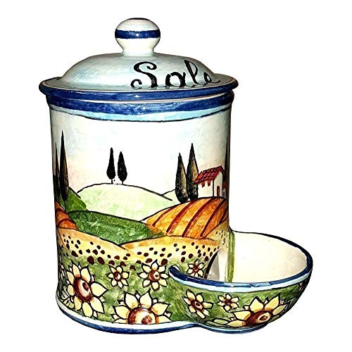 (CERAMICHE D'ARTE PARRINI- Italian Ceramic Jar Salt Holder Decorated Sunflower Landscape Hand Painted Made in ITALY Tuscan Art Pottery)