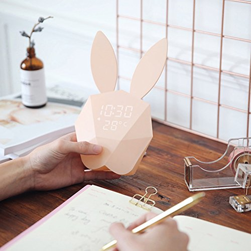 Smartcoco Lovely Rabbit Bunny LED Digital Alarm Clock Sound Night Light Thermometer USB Charge Table Wall Clock by Smartcoco