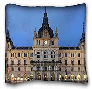 Custom City Custom Cotton & Polyester Soft Rectangle Pillow Case Cover 16x16 inches (One Side) suitable for Twin-bed