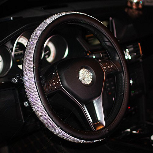 - Alusbell Leather Steering Wheel Cover with Bling Bling Rhinestone Suitable for 15 Inch for Girls Lady (Black)