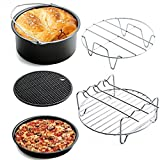 Universal Deep Fryer Air Fryer Accessories, Pizza Pan, Cake Barrel, Silicone Mat, Skewer Rack, Metal Holder Fit all 3.7Qt - 5.3Qt - 5.8Qt By USHOT