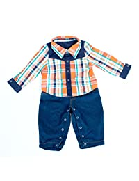 """Joined At The Hip Babywear """"Elliot"""" style - Boy's one-piece jumpsuit with plaid top and denim pants"""