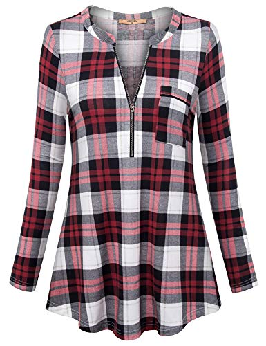 MCKOL Women Tunic Tops Long Sleeve,Womens Black Business Blouse Colorblock V Neck Tunics Top for Casual Office Wear Flowy Dressy Work Shirts for Leggings Red and Black XXL