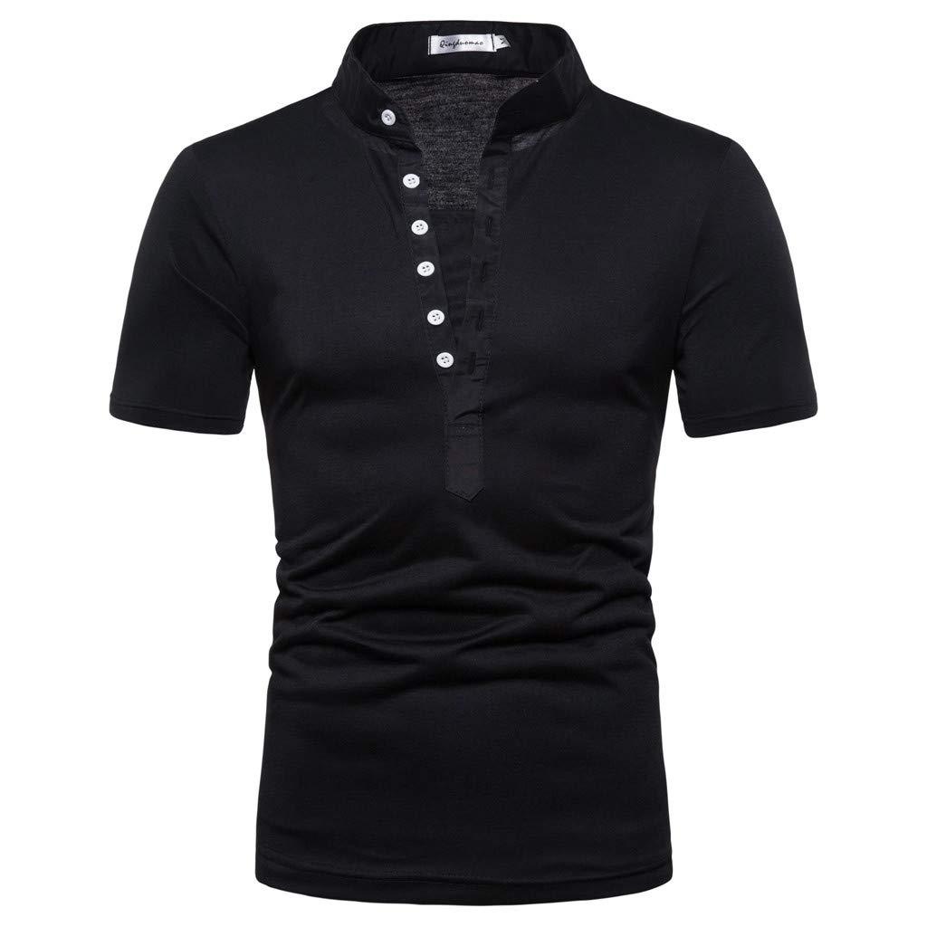 Tronet メンズ トップス メンズ サマーTシャツ 半袖 カジュアル ピュアカラー ボタン ストライプ スプライス カジュアル スポーツ ラペル 半袖シャツ ブラック Large