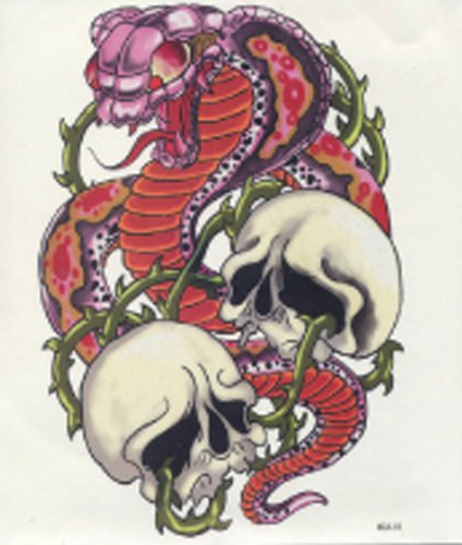 """GGSELL GGSELL hot selling extra large new design big size 7.87 x 8.66 Inches waterproof cobra and skull temporary tattoo sticker for back"""""""