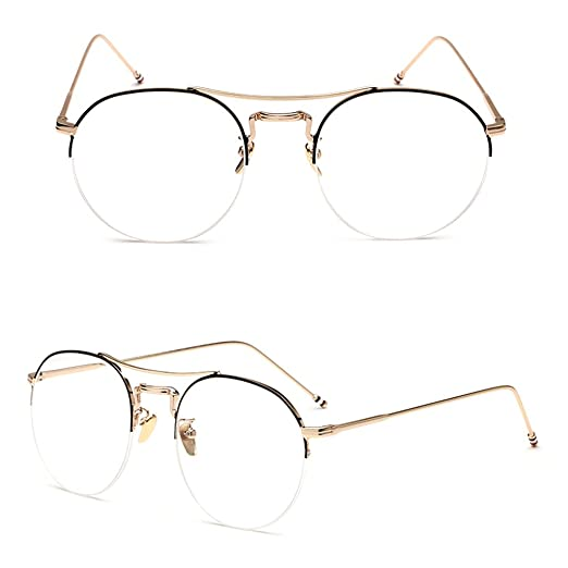 a797df556b8 Doober Vintage Men Women Round Eyeglass Frame Half Rim Glasses Lens  Spectacles Eyewear (Black