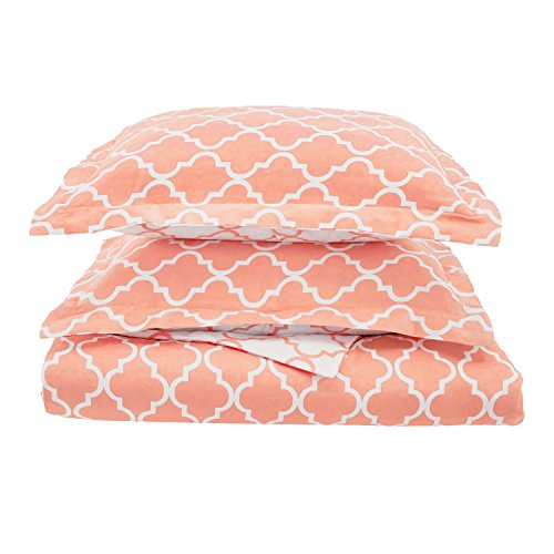 Trellis Geometric Bedding, 2 Piece Reversible Duvet Cover Set, Soft and Breathable Cotton Bed Set, 300 Thread Count with Hidden Button Closure - Twin, Coral (Coral Trellis)