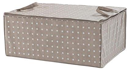 Compactor Set de 3 Bolsas para Edredón 75 g Sin Tejido| Brown 7530C con Lunares Blancos | 50x70x30H cm, Marrón, 50 x 70 x 30 cm