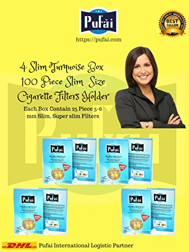 Slim cigarette filters. 100 piece ( 4 turquoise box * 25 filters) disposable slim,slender and super slim size [5 and 6 mm] cigarette filters holder. New 6 hole strong filtration sytem by Pufai.