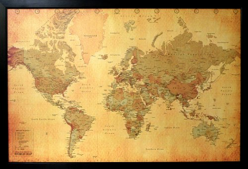 "Vintage Style World Map, Poster Print; 36""x24"""